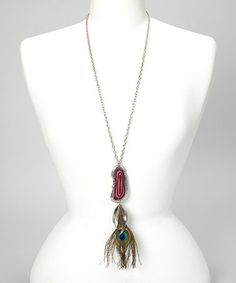 Love this Silver & Red Peacock Feather Pendant Necklace on #zulily! #zulilyfinds
