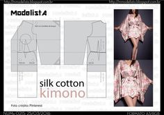 With the right silk fabric, this would be so comfy, And good looking! Kimono Pattern, Jumpsuit Pattern, Top Pattern, Dress Sewing Patterns, Blouse Patterns, Clothing Patterns, Fashion Fabric, Diy Fashion, Kimono Tradicional
