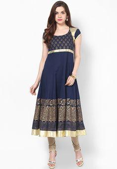 Navy Blue Embellished Kurta - MBE Kurtas & kurtis for women | buy women kurtas and kurtis online in indium