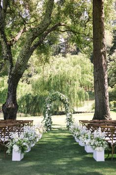 Outdoor Wedding Ceremonies White Meadowood Wedding - This all white wedding has mastered the sweetest, bespoke set ups, from the romantic ceremony, to the intimate lounge areas, and the light and airy reception. Fairy Lights Wedding, Forest Wedding, Wedding In Nature, Willow Tree Wedding, Woodland Wedding, Wedding Reception Locations, Wedding Themes, Reception Ideas, Florida Wedding Venues