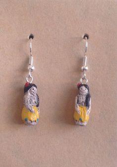 Hand Painted Day of the Dead Bead Earrings by tribeofthefaefolk