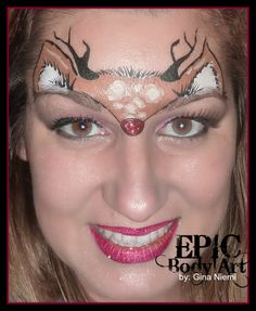 Rudolph the Red nose reindeer Face Painting and makeup by Gina Niemi of Epic Body art, MUA, Christmas makeup, Christmas face painting designs, ideas,