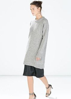 Tweed dress with cuff slit (looks like oversize sweater and skirt!), Zara