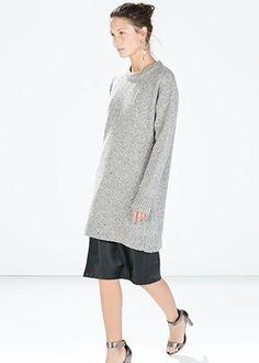 Tweed dress with cuff slit (looks like oversize sweater and skirt!), Zara
