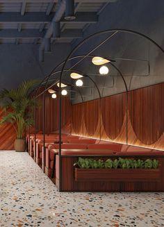 "ZA-ZA uses funky terrazzo surfaces in interior design for restaurant in Kiev Standbestuhlung im Restaurant ""Evening"" in Kiew. Design Studio, Cafe Design, Commercial Design, Commercial Interiors, Terrazzo, Restaurant Booth Seating, Restaurant Interior Design, Food Court, Hospitality Design"