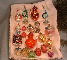 20 Vintage 1920's 1930's Glass Christmas Ornaments Berries, Tea Pots, Santa's &