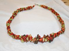 Lovely Autumn Beaded Necklace by DesertRoses3 on Etsy, $27.00