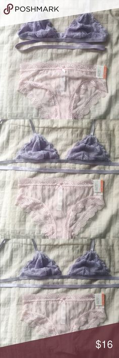 Bralette and Pantie set Both size xs. Adjustable lavender bra with wrap around strap and pretty powder pink panties with silver accents.                                           ❌Sorry, not separating. No holds or trades.                             ❤️Offers welcome.                                           ✖️Won't discuss price in comments.                   ‼️CLOSET CLOSING NOVEMBER 15th‼️ Forever 21 Intimates & Sleepwear