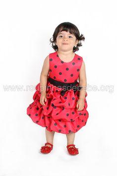 Vestido Joaninha para aniversário de meninas. Outros modelos de vestidos para criança estão em http://www.eroupasdebebe.com/vestido-joaninha