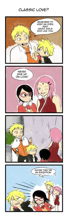 "oh god please don't be like your mother Sarada... ""Don't give up on love IF IT'S MUTUAL"""