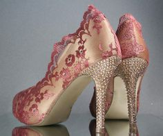 Custom Wedding Shoes -- Champagne Peep Toe Wedding Shoes with Antique Rose Lace Overlay and Rose Gold Rhinestone Heels