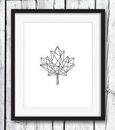 Geometric Print, Black on White Geometric Maple Leaf Print, Black Wall Art…