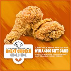 Join us on our mission to find America's most delicious chicken recipes. It's simple, send us your favorite chicken recipe and challenge our chefs and recipe engineers to give it a new House-Autry twist. If we select your recipe, you'll win an ample supply of House-Autry ingredients plus a $100 Gift Card. Yummy Chicken Recipes, Yum Yum Chicken, Engineers, Chefs, Recipies, Join, Challenges, Simple, Gift