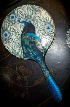 Decoupage Peacock Hand Mirror