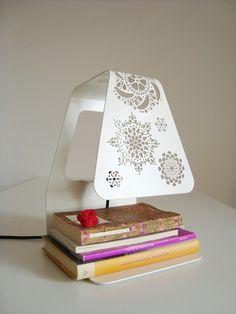 Laser cut steel lamp.