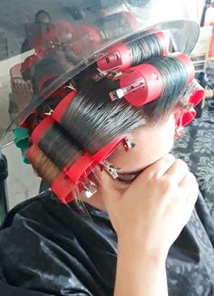 Derek tried to hide his face as his ex girlfriend walked into the salon. OMG, he couldnt let her see what a sissy he'd become! Big Hair Rollers, Sleep In Hair Rollers, Forced Haircut, Roller Set, Boy Hairstyles, Curlers, Vintage Glamour, Beauty Shop, Hair Goals