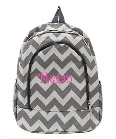 Personalized Chevron Backpack Gray with Gray by MauriceMonograms bc81da3d949e3