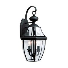 28% Off Lancaster Black 10 Inch Energy Star Two Light Outdoor Wall Lantern by Sea Gull Lighting. @ Please note: Fixture is not Title 20 certified and cannot ship to California. @ Light has a way of sparkling against glass to create a warm and inviting welcome, and the Lancaster outdoor collection by
