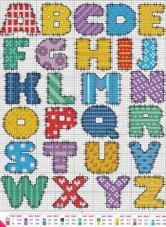Not sure if this is cross stitch or hama beads but I love the colours The site is in Russian but there is a translation and there are lots of other lovely alphabet designs here, too. Cross Stitch Alphabet Patterns, Embroidery Alphabet, Cross Stitch Letters, Cross Stitch Baby, Cross Stitch Charts, Cross Stitch Designs, Embroidery Patterns, Stitch Patterns, Cross Stitching
