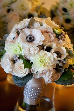anemone and dahlia wedding flower bouquet, bridal bouquet, wedding flowers, add pic source on comment and we will update it. www.myfloweraffair.com can create this beautiful wedding flower look.