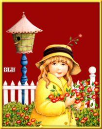 Mary Engelbreit - girl with flowers, birdhouse jj