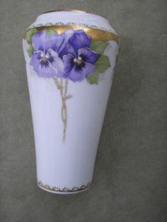 Vintage Rosenthal Victoria Luise Pansy Motif Vase