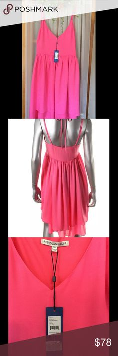 """Rebecca Minkoff Pink Silk size 10 Dress Adorable dress for the coming warm seasons. Very pretty shade of pink. Size 10, Bust 15"""" across, waist 15""""across. Total length 35"""" Mini, just above the knee. Adjustable straps,hidden back zipper. NWT🌸🌸 Rebecca Minkoff Dresses Mini"""