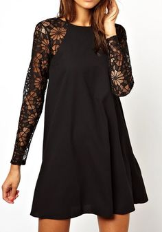 Super CUTE! Black Plain Hollow-out Collarless Long Black Floral Lace Sleeve Nylon Dress #Black #Lace #LBD #Holiday #Fashion #Ideas