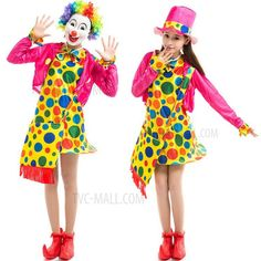 Halloween Women Adult Funny 3-piece Clown Tippet Dress Hat Suit for Costume Parties Cosplay-1