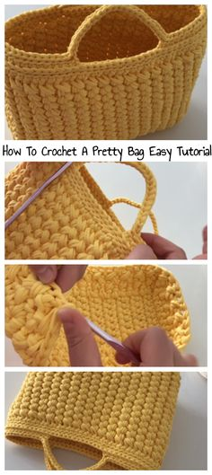 How To Crochet A Yellow Bag - Happy Yarn - Amigurumi , Crochet , Knitting Crochet Tote, Crochet Handbags, Crochet Purses, Knit Or Crochet, Crochet Crafts, Free Crochet, Crochet Baby, Crotchet, Crochet Baskets