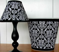 Black and white damask lamp and wastebasket set for bedroom, bathroom, or home office.