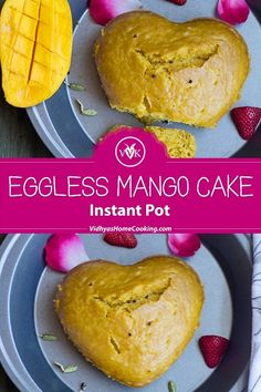 A delicious and easy eggless mango cake with the hint of turmeric and cardamom powder made in Instant Pot. #instantpotrecipes #instantpotcake #instantpotegglessmangocake #egglessmangocake #egglessbakes