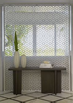 Modern Mashrabiya as Unique Metal Screen - think would work well in the garden too