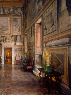 Inside Palazzo Sacchetti's Royal Interiors - La Sala dei Mappamondi with Francesco Salviati's frescos.