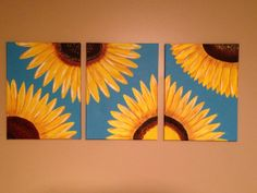 sunflower painting flower painting yellow by Creationsbyconni, $199.00 Or I could paint it myself!