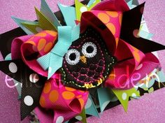 Birthdya Owl Boutique Style Hair Bow Pink Lime by elliesgarden