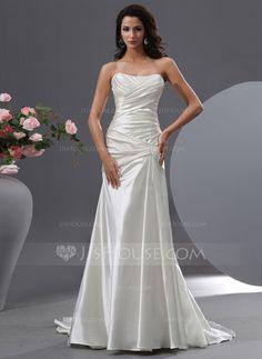 Wedding Dresses - $252.99 - A-Line/Princess Sweetheart Court Train Charmeuse Wedding Dress With Ruffle (002022761) http://jjshouse.com/A-Line-Princess-Sweetheart-Court-Train-Charmeuse-Wedding-Dress-With-Ruffle-002022761-g22761