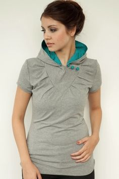 hoodie shirt  grey  polka dots  buttons #mindymaesmarket #dreamcloset