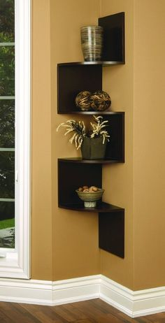 Corner Wall Shelves Design Ideas for Living Room 38 - For the Home - Corner Wall Shelves, Wall Shelves Design, Kitchen Shelves, Small Shelves, Kitchen Walls, Ranch Kitchen, Room Shelves, Cupboards, Deco Zen
