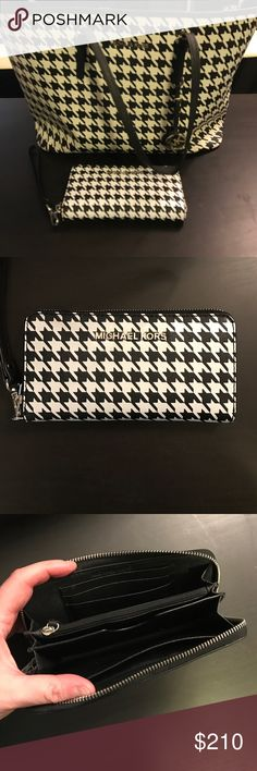 """Large Houndstooth Jet Set Tote and Wallet Both are used but still in good condition. Tote has some scuffs and one of the straps has some wear, see pics. Wallet is in excellent condition. Tote approx dimensions measured at the base: 15.5"""" W x 7.5"""" D x 11.5"""" H Michael Kors Bags"""