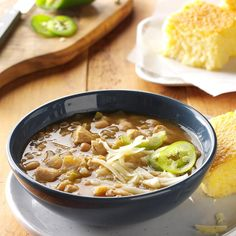 Folks will enjoy a change from traditional chili when they dip their spoons into this flavorful blend of tender chicken, white beans and just enough zip. This is our favorite white chicken chili recipe. —Taste of Home Test Kitchen White Chili, White Chicken Chili, Chicken Soup Base, Chicken Stuffing, Chicken Gumbo, Chicken Chunks, Chicken Soups, Canned Chicken, Bbq Chicken