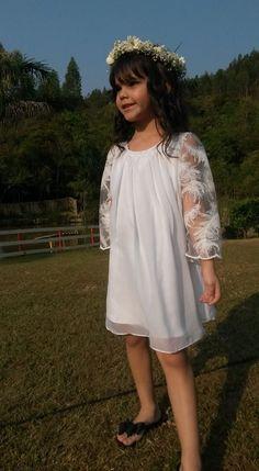 Vestido Dama de honra: forro de Shantung com Musseline e manga de tule bordado