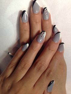 Gray with black & white color on oval nails