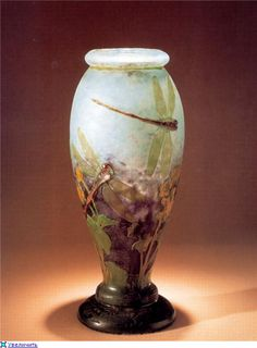 Emile Galle - Cameo Glass Vase with Dragonflies. Circa 1900.