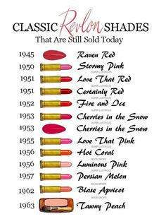 My absolute favorite shade of lipstick will always be Revlon Certainly Red. Revlon is another brand that has a ton of vintage shades you can still buy. Masie Williams is absolutely right, red lipstick. Revlon Lipstick Shades, Revlon Super Lustrous Lipstick, Red Lipsticks, Revlon Color, Drugstore Lipstick, 1950s Makeup, Retro Makeup, Vintage Makeup Ads, Cherries In The Snow