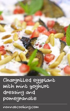 Chargrilled eggplant with mint yoghurt dressing and pomegranate Oven Dishes Recipes, Mince Recipes, Kebab Recipes, Duck Recipes, Grill Recipes, Egg Recipes, Tasty Dishes, Fish Recipes, Cooking Recipes