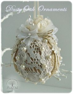 Burlap, lace and pearls wedding keepsake Christmas tree ornament