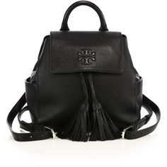 Tory Burch Thea Mini Leather Backpack (16,580 THB) found on Polyvore featuring women's fashion, bags, backpacks, bolsas, apparel & accessories, black, leather strap backpack, leather knapsack, real leather backpack and leather backpack