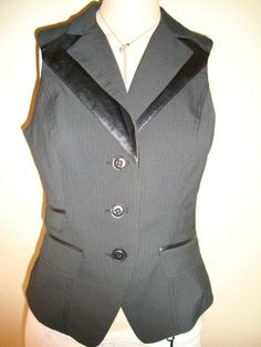 Bebe pinstripe and leather vest