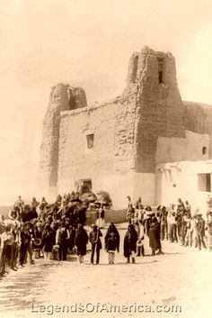 Feast day at San Estevan del Rey Mission, Acoma Pueblo, New Mexico by Charles FLummis, Vintage photo restored by Kathy Weiser-Alexander. Native American Images, Native American Indians, Restaurant Mexicano, Native American Photography, New Mexico History, Pueblo Indians, Journey's End, New Mexican, Land Of Enchantment